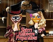 Preparação de Halloween das Irmãs